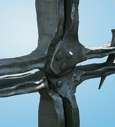Grabkreuz aus Stahl geschmiedet - Detail