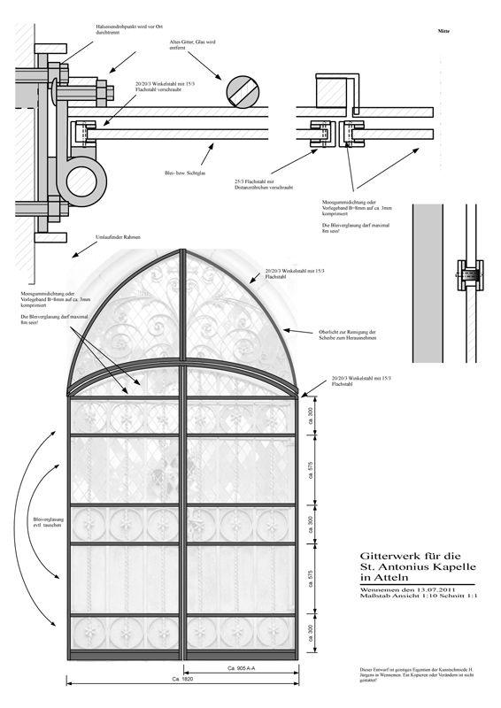 Atteln - Restaurierung - Windfang - Konstruktionszeichnung