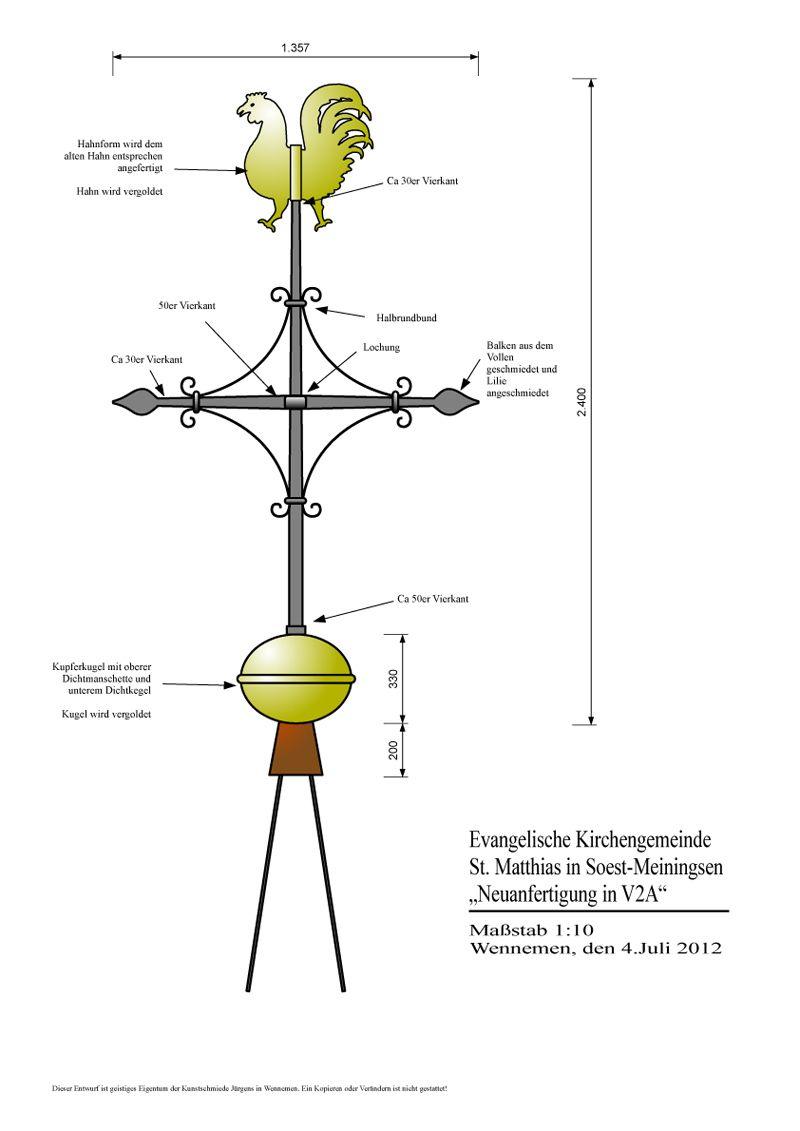 Meiningsen - Turmkreuz - Zeichnung