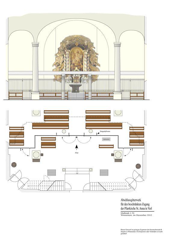 Verl - St Anna - Trenngitter - Gitter - Abschlussgitter - beschränkter Zugang - Zeichnung
