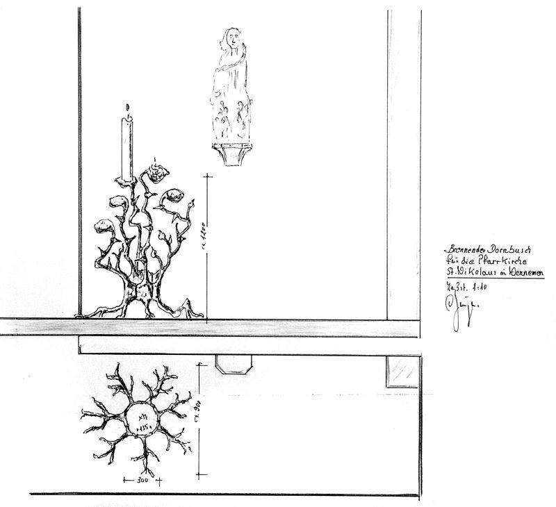 Opferkerzenleuchter - brennender Dornenbusch - Zeichnung